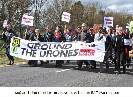 antidrone protest raf waddington 4.13