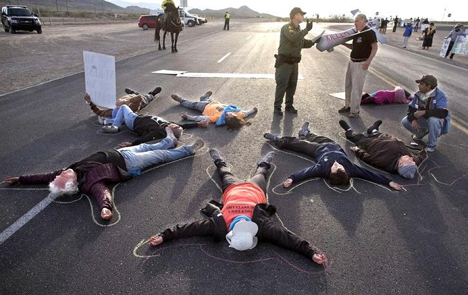 drone protest nevada base